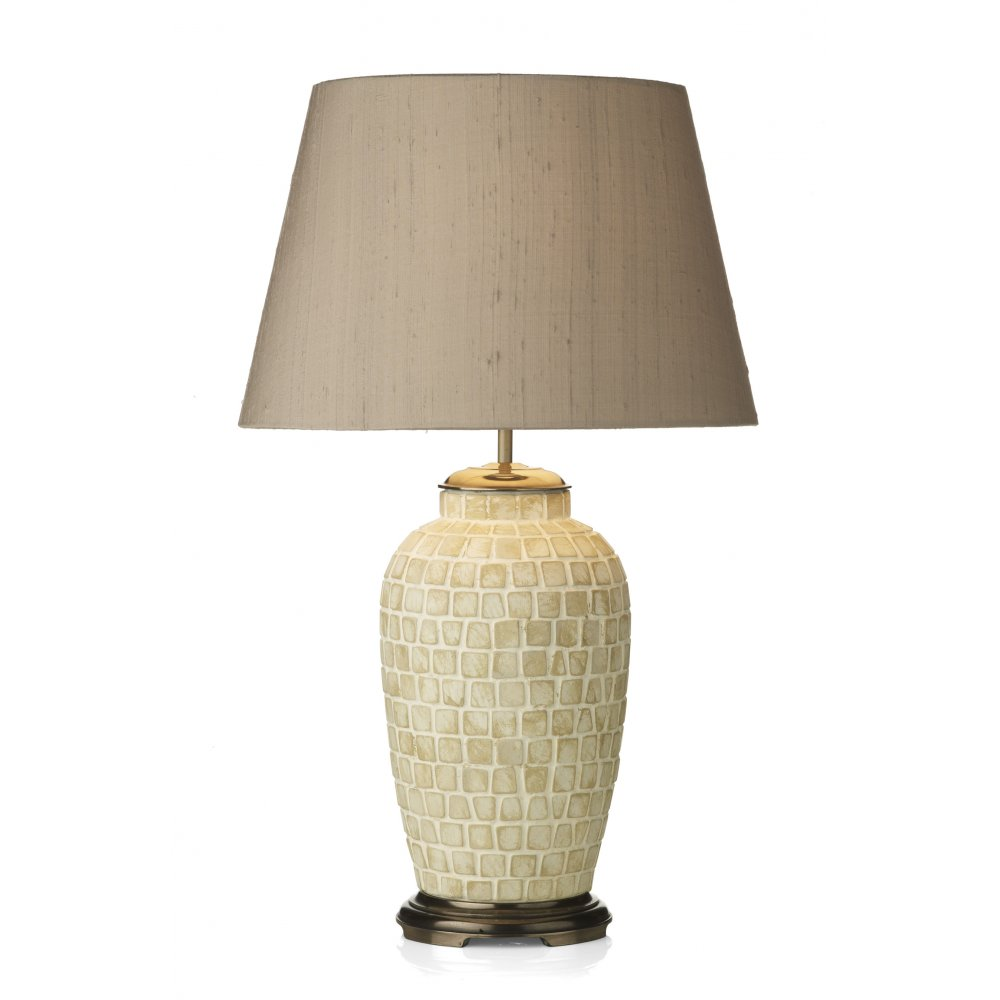 Table Lamp Base in Stone Coloured Mosaic Tile Design on a