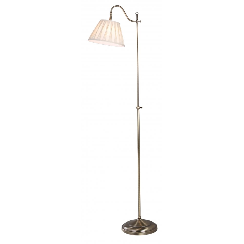 Traditional Rise  Fall Floor Lamp in Antique Brass with Shade