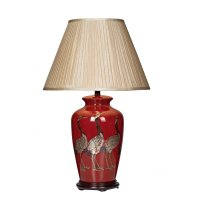 Decorative Deep Red Ceramic Table Lamp Base with Bird Design