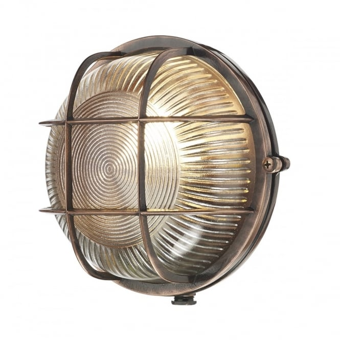 admiral round exterior bulkhead in antique copper