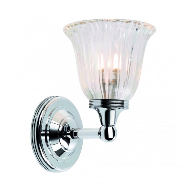 austen traditional bathroom wall light with ribbed glass shade