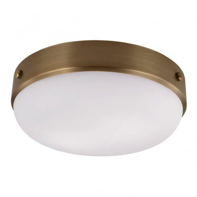 cadence modern industrial dark antique brass flush mount ceiling light with opal diffuser