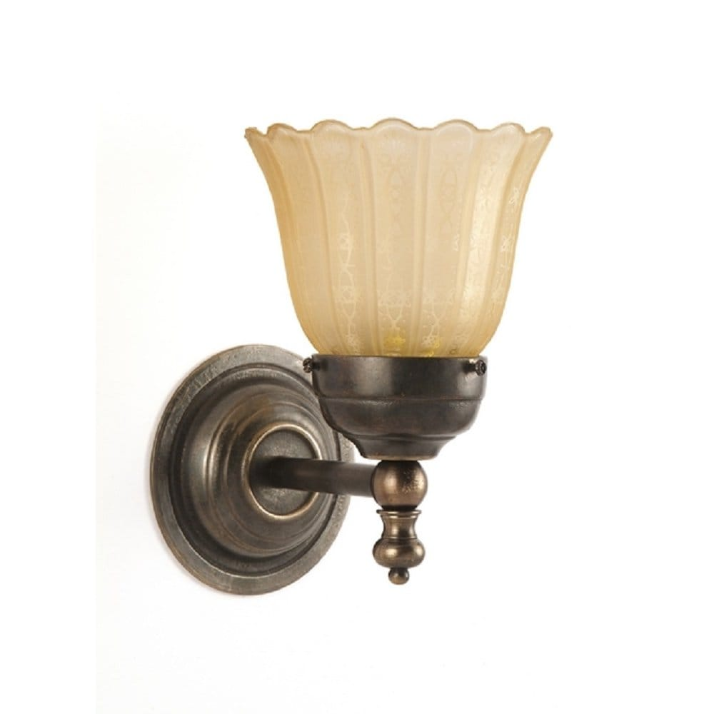 Victorian Style Compact Single Wall Light in Aged Brass