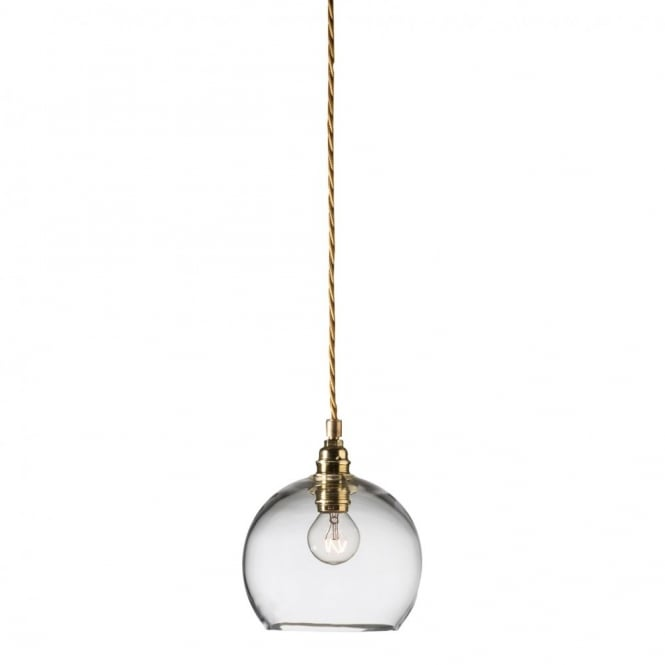Clear Mini Blown Glass Ceiling Pendant with Gold Braided