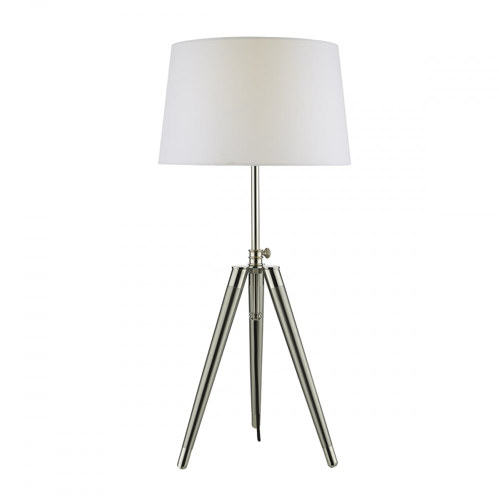 medium resolution of brushed nickel and satin chrome tripod table lamp