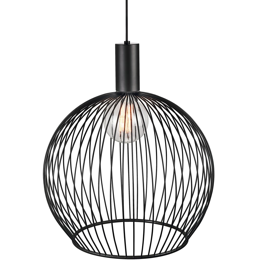Modern Large Wire Frame Globe Pendant in Black