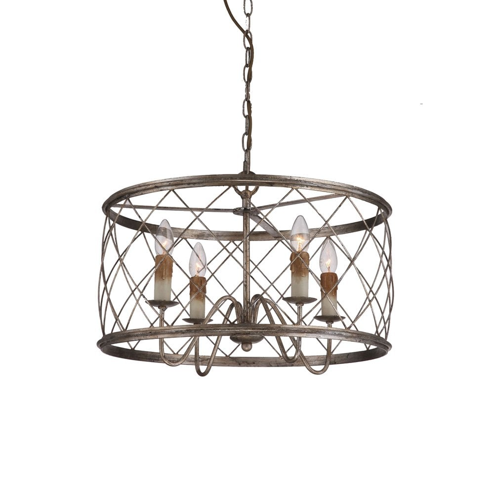 dury rustic drum cage pendant light in traditional bronze and silver leaf ironwork