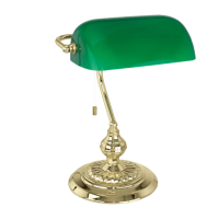 Traditional Brass Bankers Lamp with Green Glass Shade ...