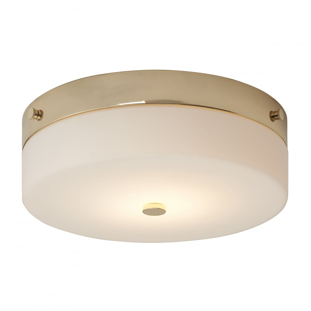 Contemporary Flush Bathroom Ceiling Light in Gold with