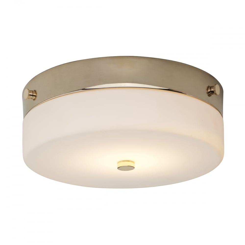 Contemporary Small Flush Bathroom Ceiling Light in Gold w Opal Glass