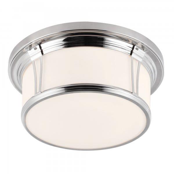 Classic Flush Bathroom Ceiling Light in Polished Nickel w White Glass