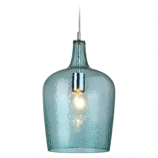 glass beveled aqua bottle pendant light