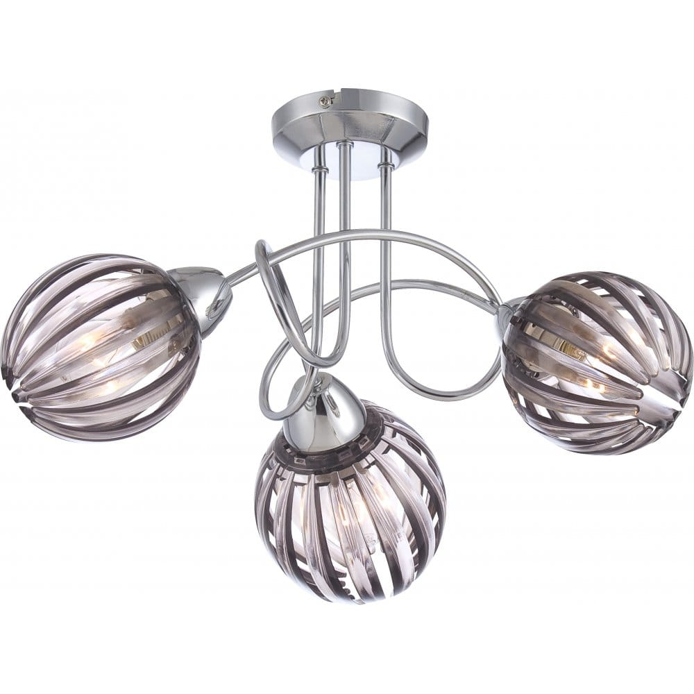 Chrome Spiral Ceiling Light with Hinted Acrylic Shades. 3