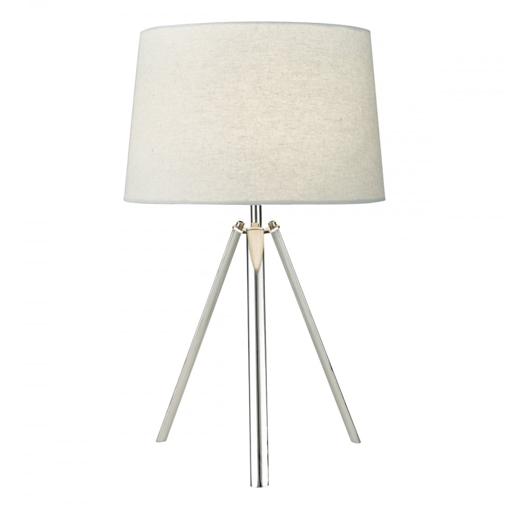 medium resolution of chrome tripod table lamp with grey shade