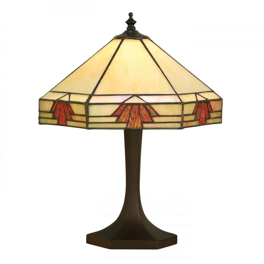 Nevada Art Deco Tiffany Table Lamp in Muted Colours with