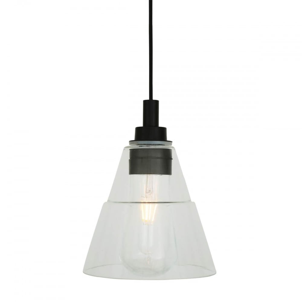 Matte Black Bathroom Pendant with Glass Shade