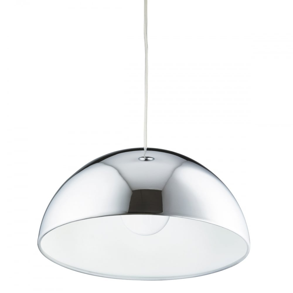 Dome Shaped Chrome and White Ceiling Pendant