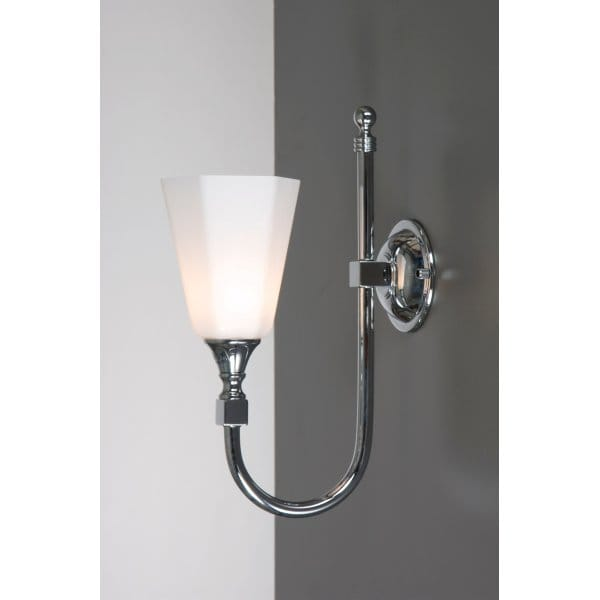 traditional bathroom wall lights Traditional Bathroom Wall Light, Chrome with Swan Neck Arm