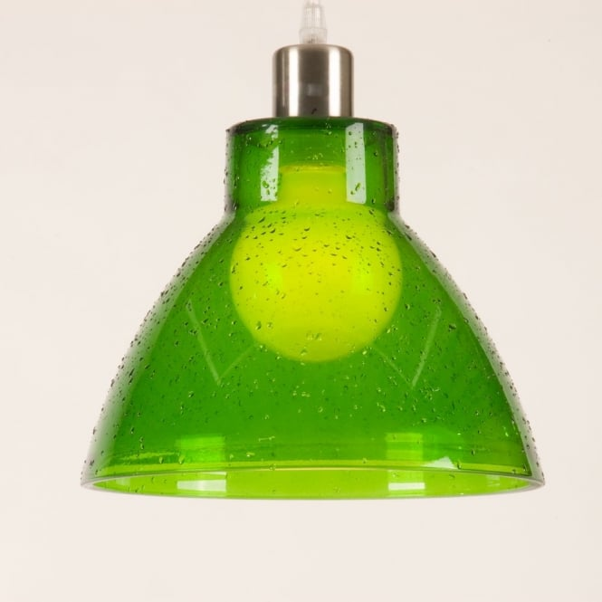 Retro Green Glass Ceiling Pendant Light Shade, Funky
