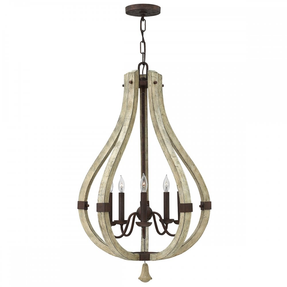 middlefield 5 light distressed wood and rustic iron chandelier