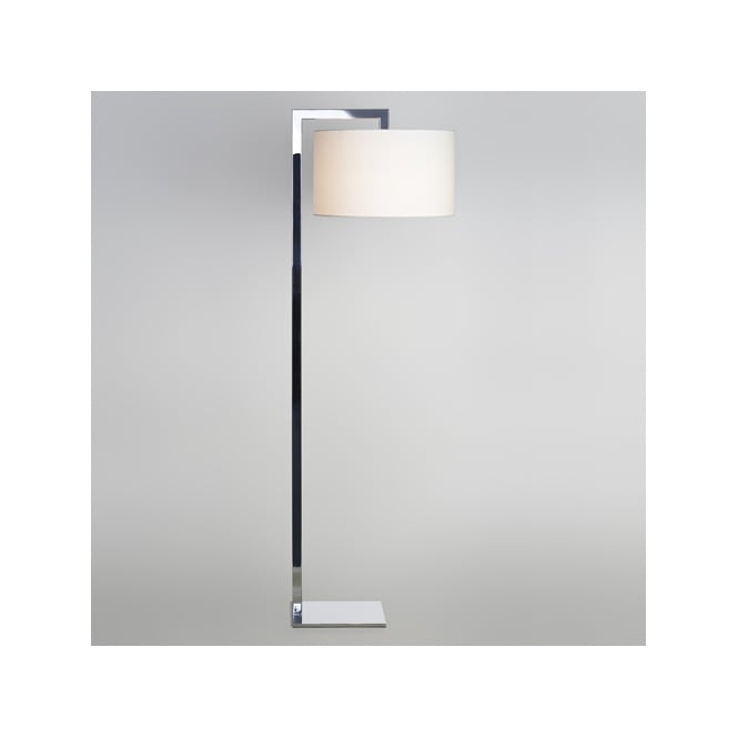 Contemporary Chrome Floor Lamp With Silk Shade Double Insulated