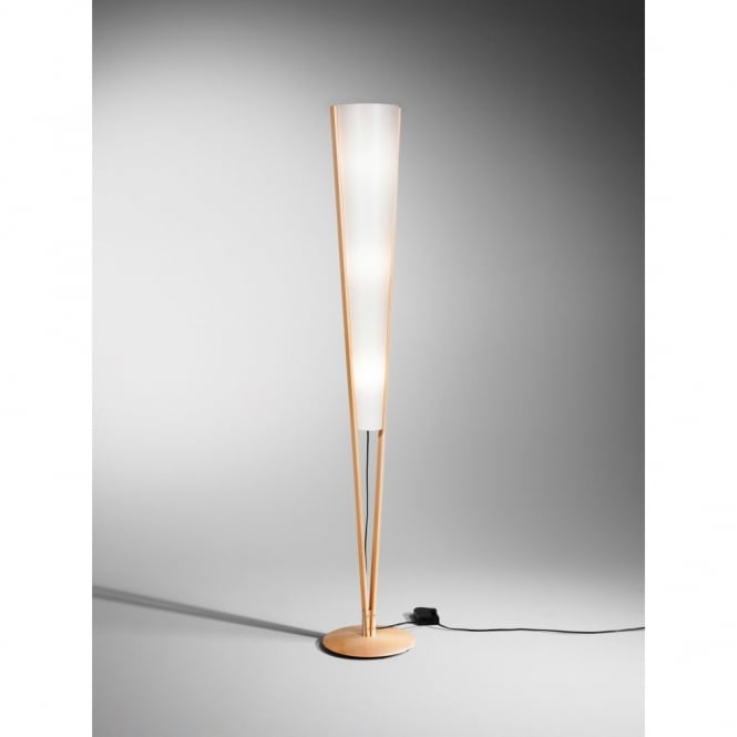 Contemporary Wooden Floor Lamp In Beech Finish With Lunopal Shade