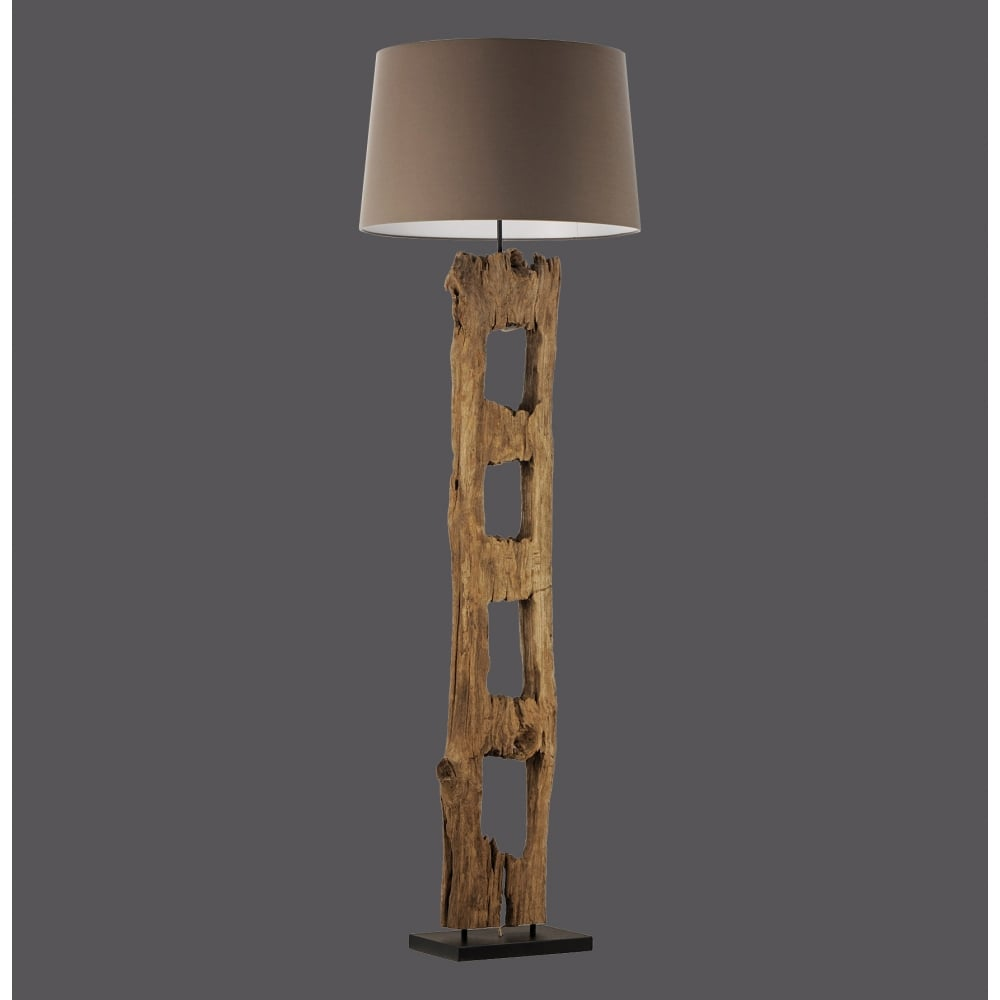 Rustic Driftwood Floor Lamp with Brown Cotton Shade