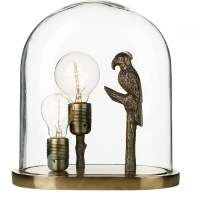 PARROT Decorative Bronze Parrot Table Lamp with Glass Dome
