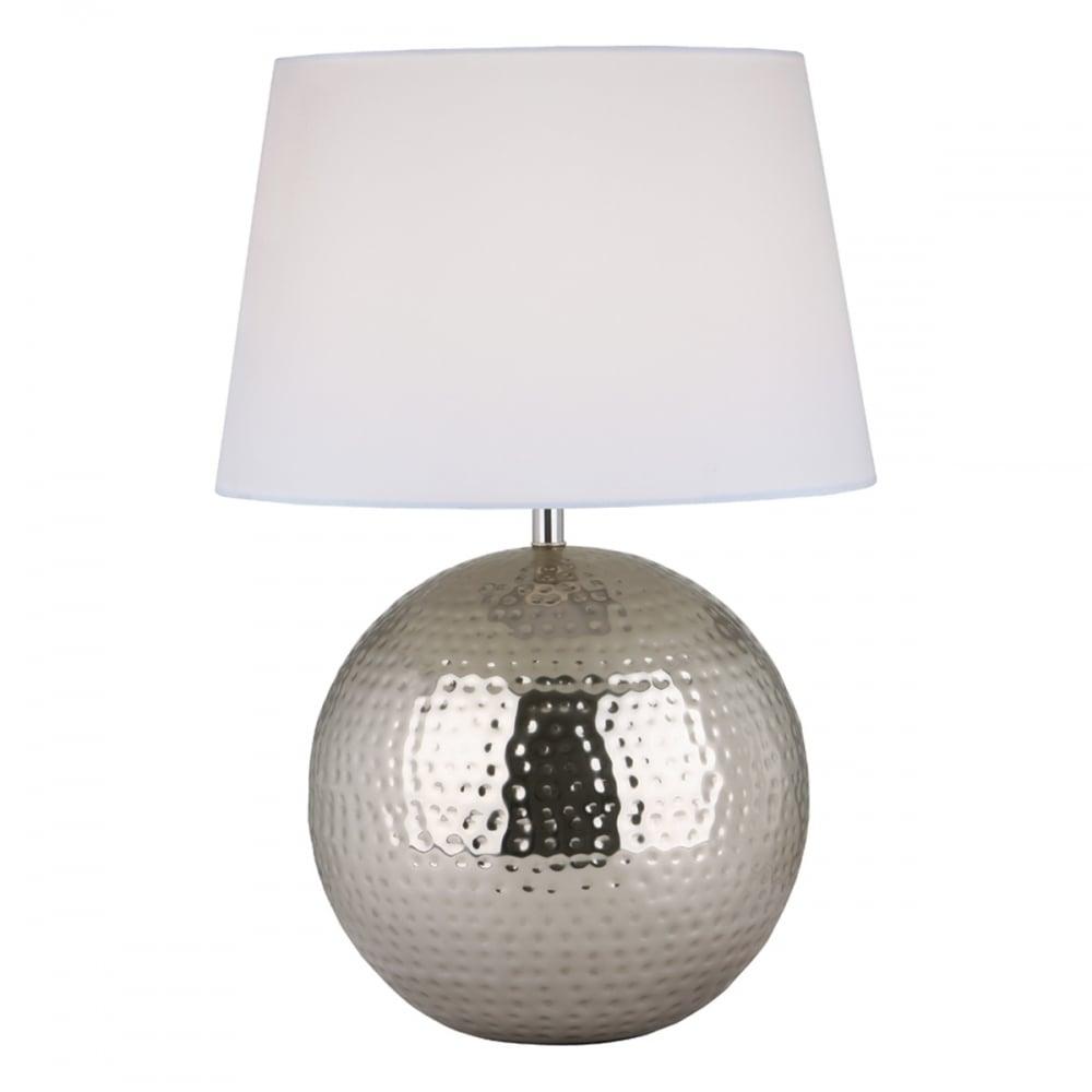 ADITYA Hammered Metal Globe Shaped Table Lamp Base in