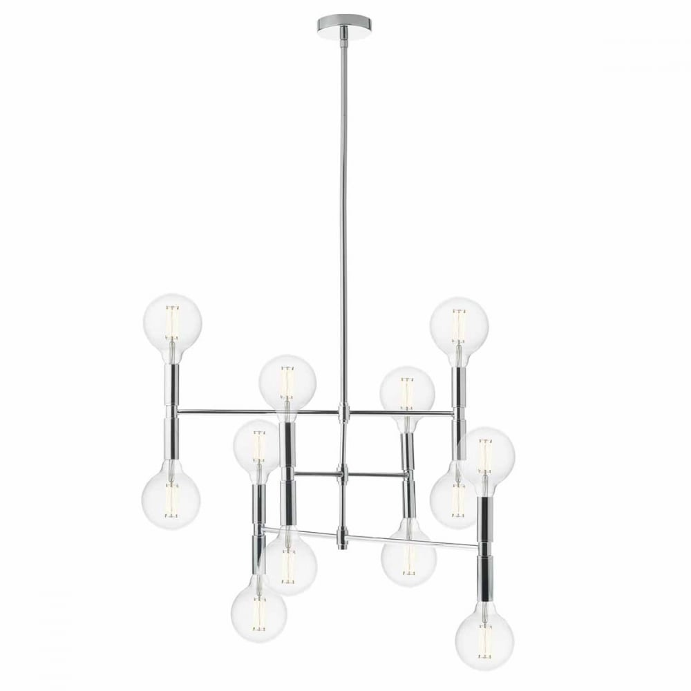 Modern 12 Light Ceiling Pendant in Polished Chrome w