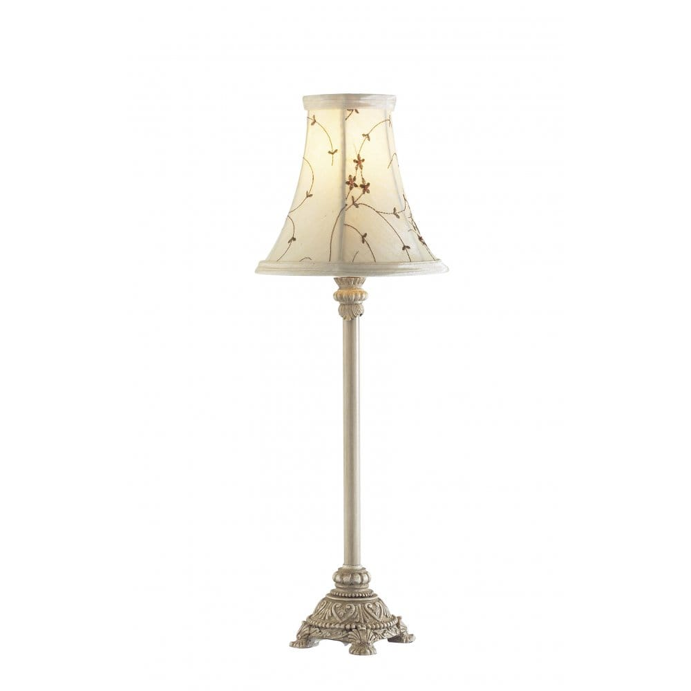 Small Antique Cream Table Lamp for Using as Bedside Table Light