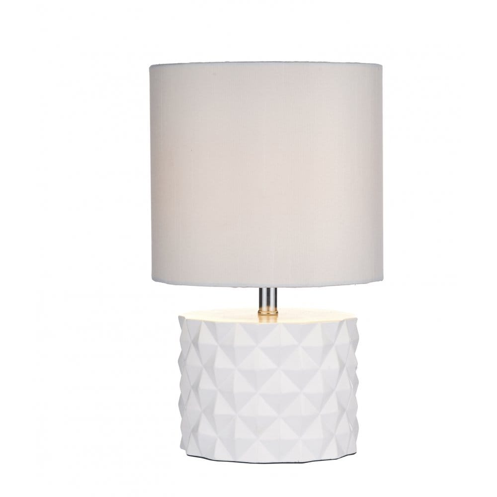 Contemporary White Geometric Design Table Lamp with Shade