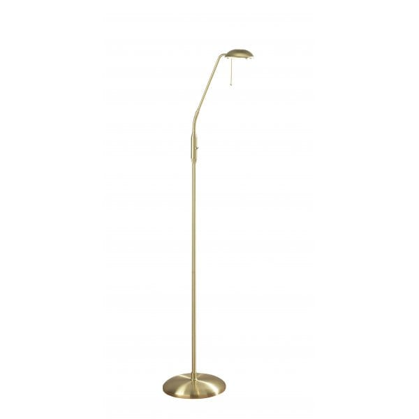 Floor Lamp for Reading in Satin Brass with Flexible Head