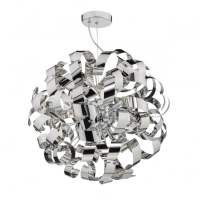 Modern Ribbon Design Polished Chrome Globe Ceiling Pendant