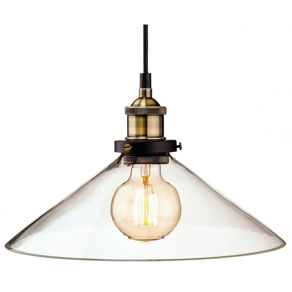 Vintage Industrial Ceiling Pendant in Antique Brass with