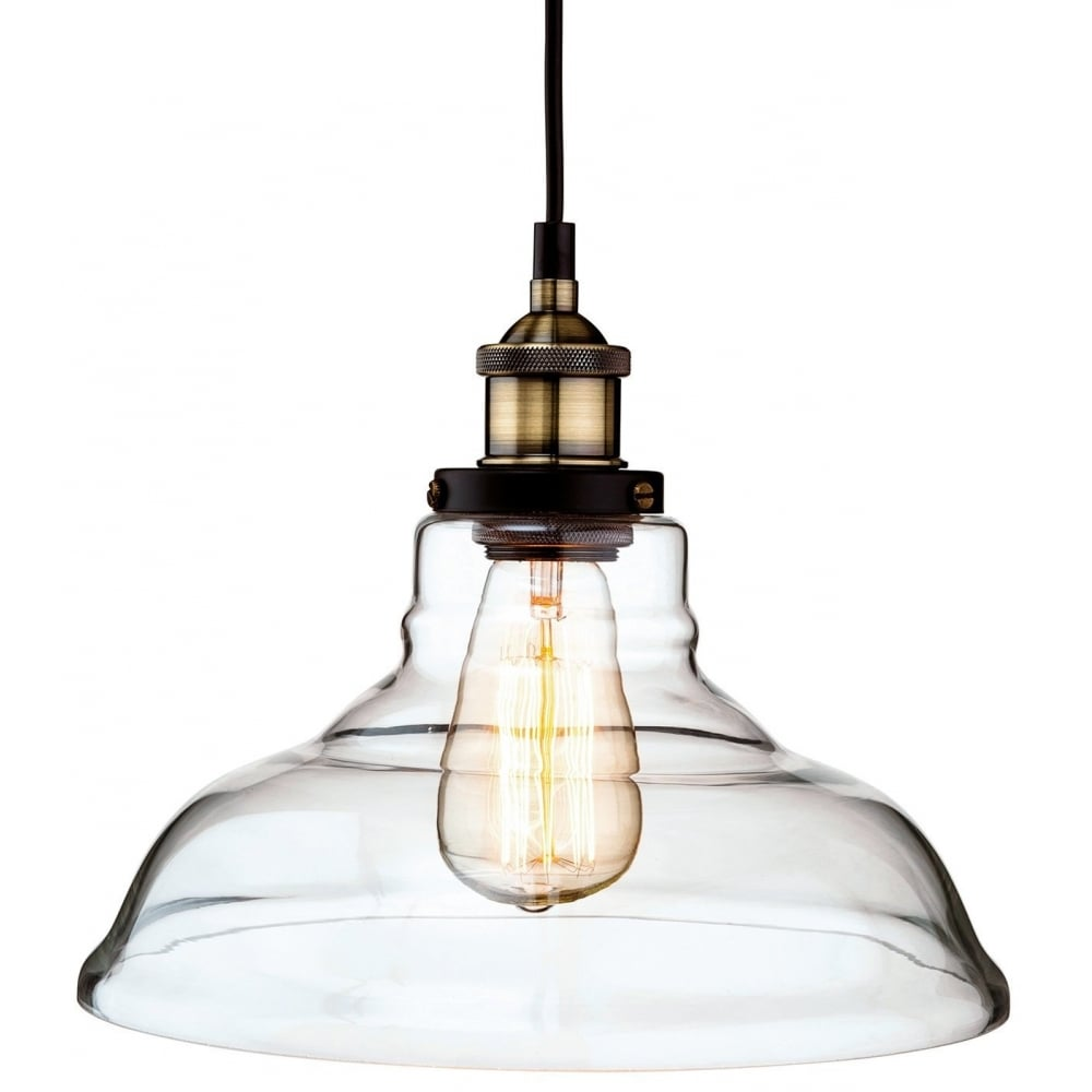 Vintage Industrial Style Brass and Clear Glass Ceiling