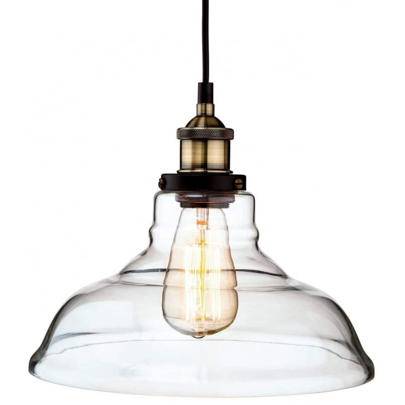 Vintage Style Brass And Clear Glass Ceiling Pendant Light