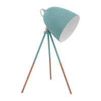 Retro Table Lamp in Mint Blue Coloured Finish - Double ...