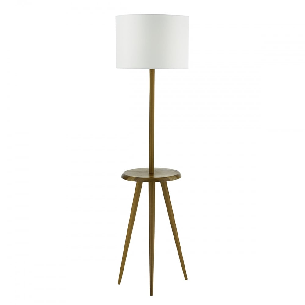 Wooden Tripod Style Floor Lamp with Table Rest and Shade