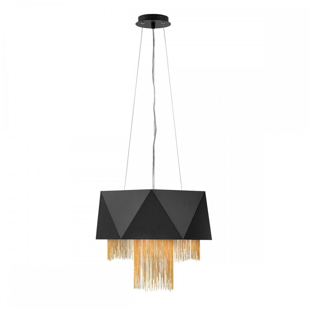 zuma 6 light pendant light in black with decorative tiers of chain