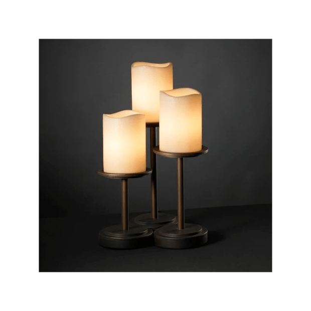 Justice Design Group CNDL-8797-CREM-DBRZ Dark Bronze with Cream Shades Dakota 3 Light Table Lamp ...