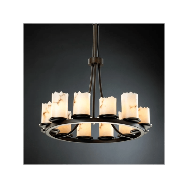 Justice Design Group FAL-8763-DBRZ Dark Bronze Dakota 12 Light Tall Ring Chandelier from the ...