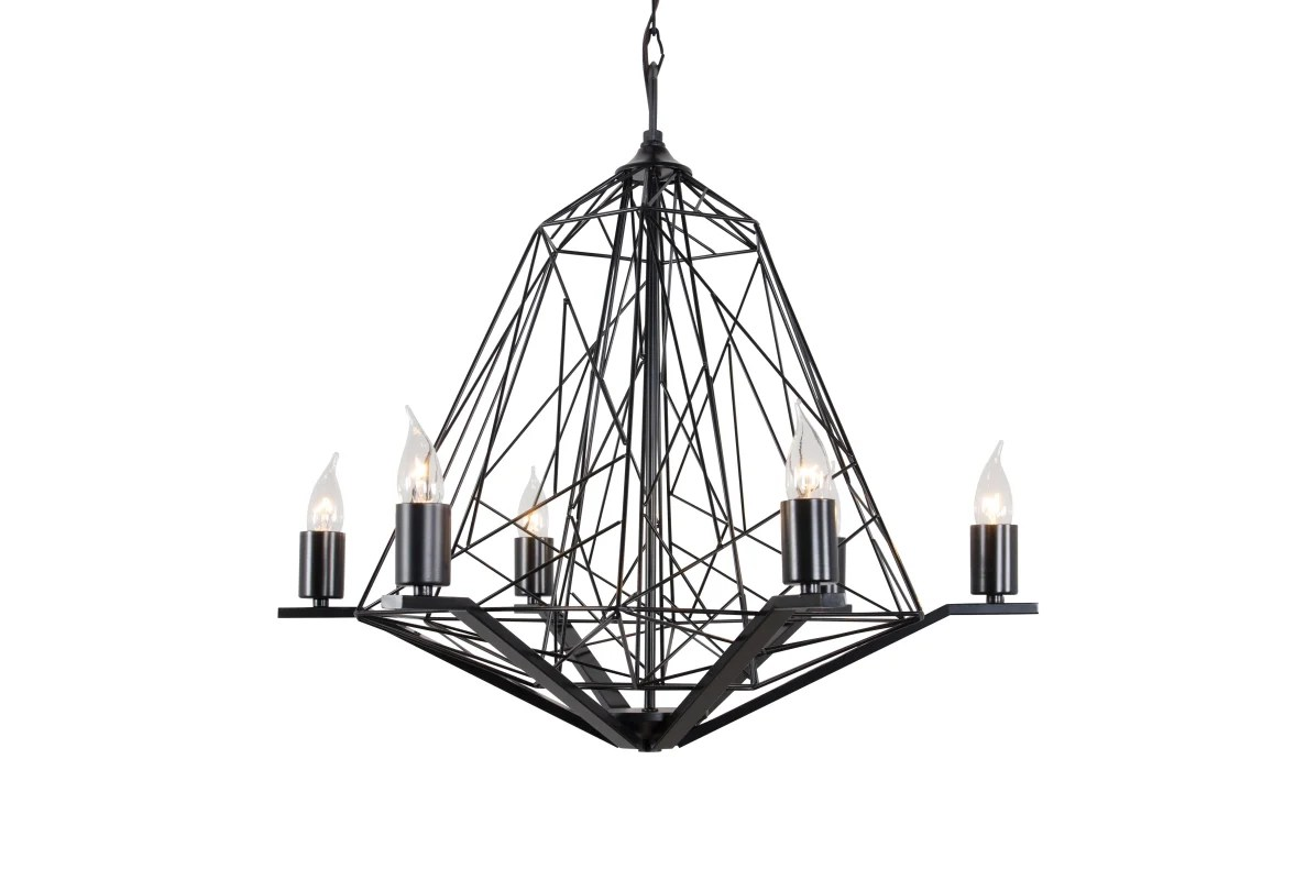 Varaluz 237c06bl Black Wright Stuff 6 Light Chandelier