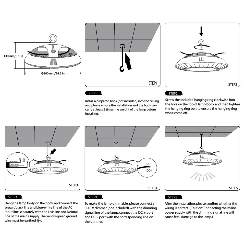 medium resolution of dimmable ufo 100w led high bay light 200w hps mh bulb equivalent le rh lightingever com 12v dc wiring diagram 12v strobe light wiring diagram