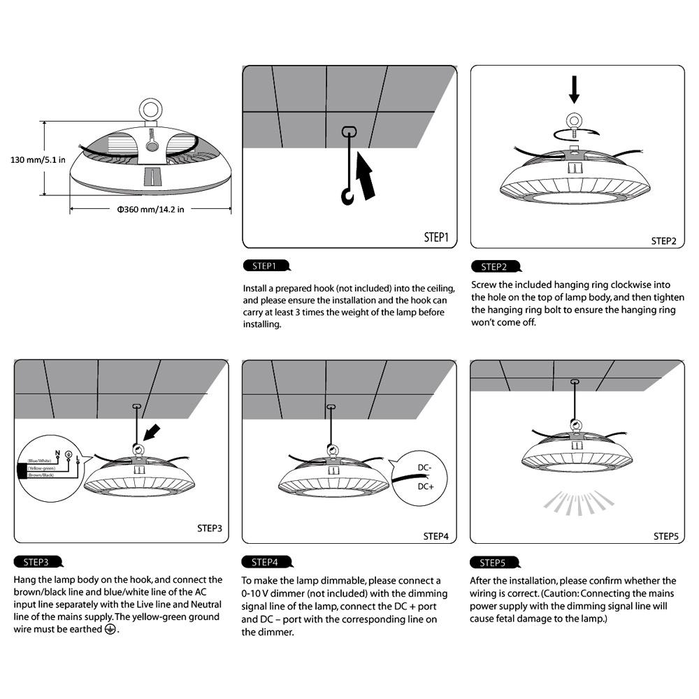hight resolution of dimmable ufo 100w led high bay light 200w hps mh bulb equivalent le rh lightingever com 12v dc wiring diagram 12v strobe light wiring diagram