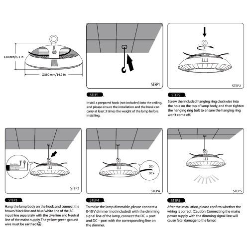 small resolution of dimmable ufo 100w led high bay light 200w hps mh bulb equivalent le rh lightingever com 12v dc wiring diagram 12v strobe light wiring diagram