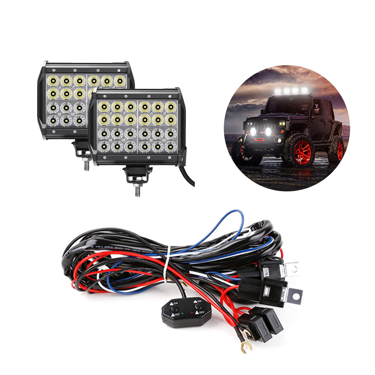 hight resolution of  bundle 72w cree off road led work light bars with wiring harness kit