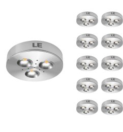 pack of 10 units led under cabinet lighting puck lights 12v dc under counter lighting 25w halogen replacement 240lm warm white [ 1200 x 1200 Pixel ]