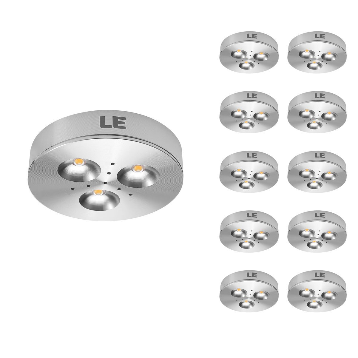 hight resolution of pack of 10 units led under cabinet lighting puck lights 12v dc under counter lighting 25w halogen replacement 240lm warm white