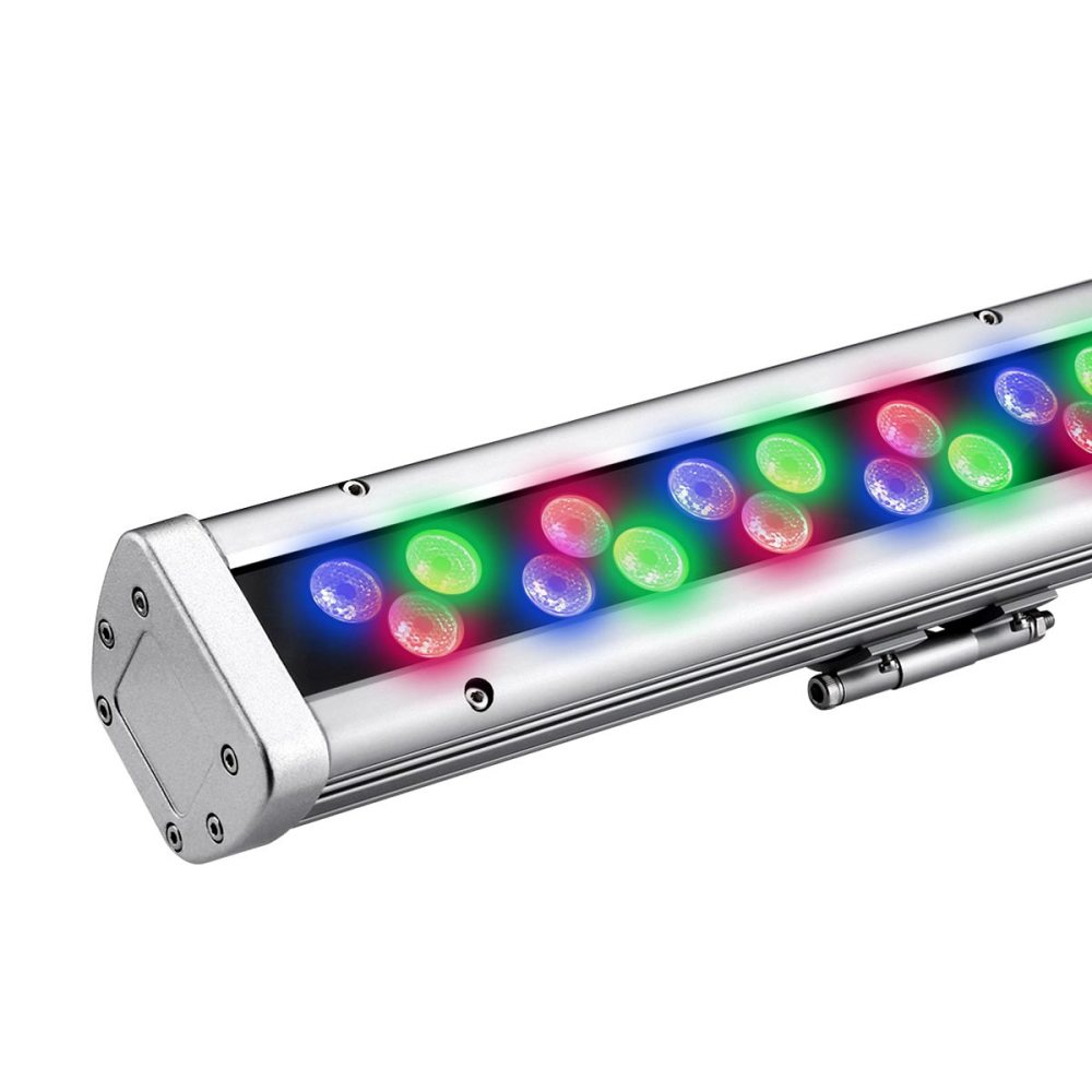 medium resolution of 96w rgb led wall washer color changing 48 leds ip65 waterproof 30 beam angle multi colored led light bar for interior or exterior wall wash uses